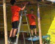 Volunteers up a ladder image
