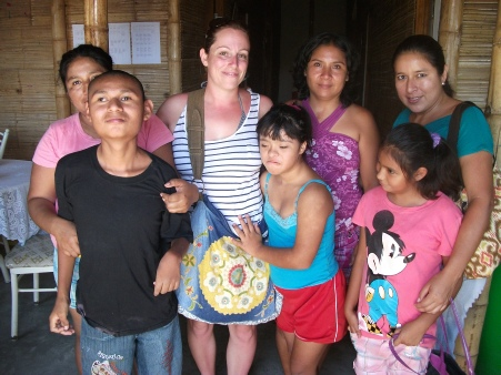 Volunteer with group of children